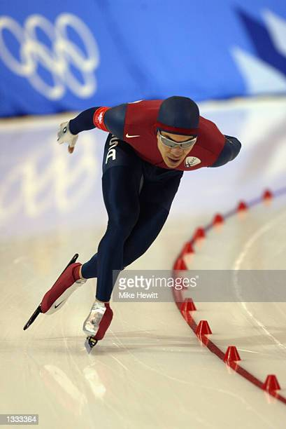 Derek Parra of the United States competes in the men's 10000m speed skating event during the Salt Lake City Winter Olympic Games on February 22 2002...
