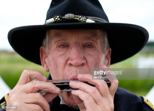 Derek Philips plays the mouth organ as he depicts life as a Union Army officer with the 118 Pennysylvania during the Frontline Sedgefield living...
