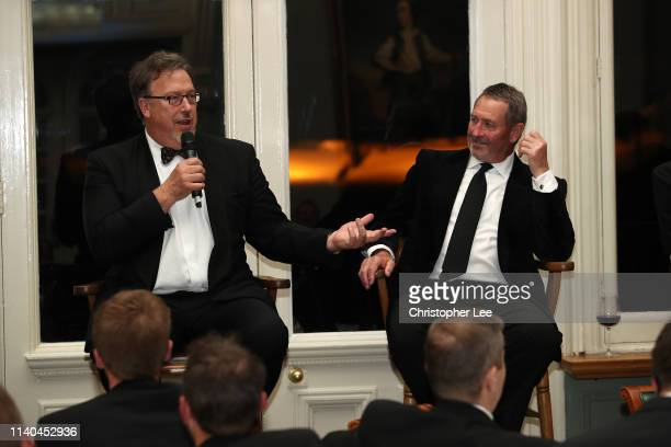 Derek Pringle and Graham Gooch are questioned by Alison Mitchell in the Q&A during the PCA Season Launch Dinner in the Long Room at Lord's Cricket...