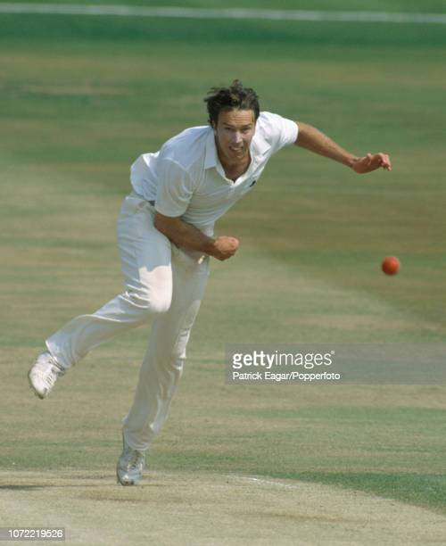 Derek Pringle bowling for England during the 1st Test match between England and Australia at Headingley Leeds 8th June 1989 Australia won the match...
