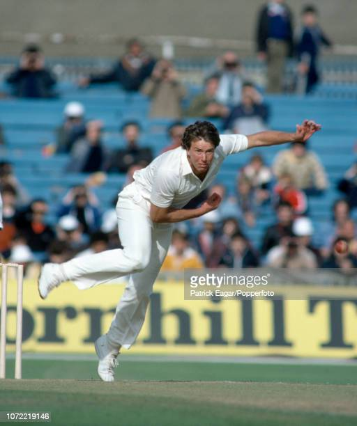 Derek Pringle bowling for England during the 2nd Test match between England and India at Old Trafford Manchester 27th June 1982 The match ended in a...