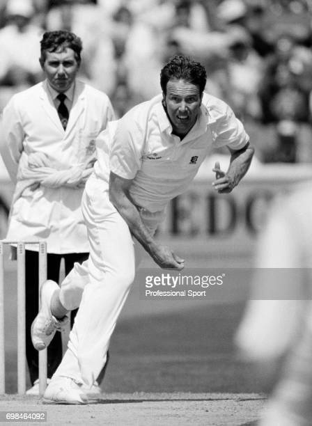 Derek Pringle bowling for Essex circa September 1992 The umpire is Alan Whitehead