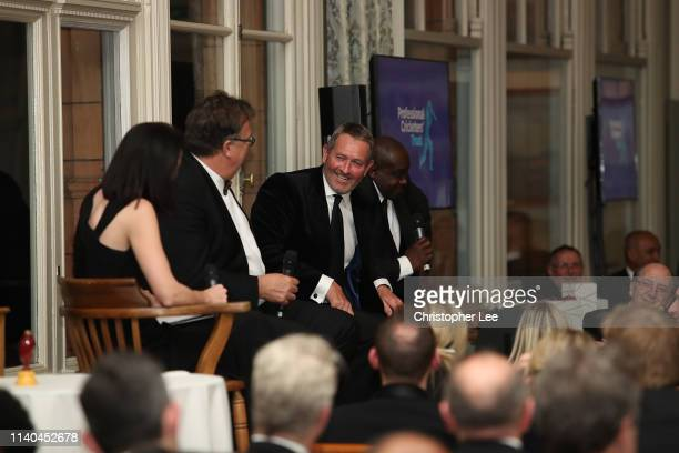 Derek Pringle, Graham Gooch and Gladstone Small are questioned by Alison Mitchell in the Q&A during the PCA Season Launch Dinner in the Long Room at...