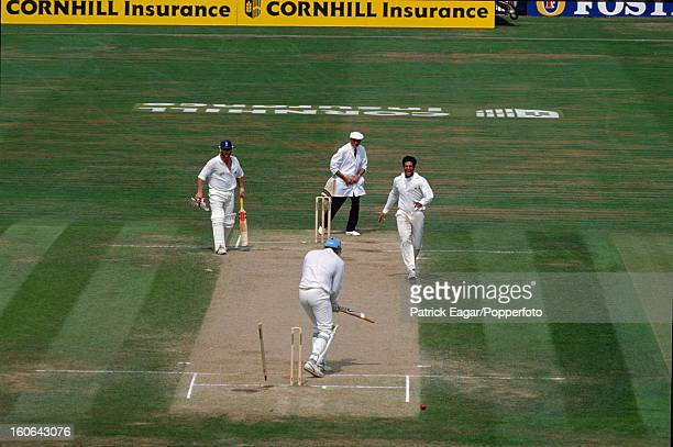 Derek Pringle is bowled by Wasim Akram for 1 5th Test England v Pakistan The Oval August 1992