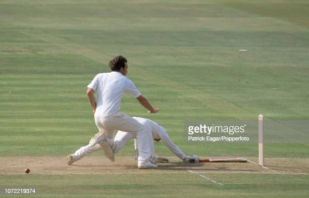 Derek Pringle of England collides with Australian batsman Dean Jones while attempting to field the ball off his own bowling during the 3rd Texaco...