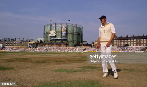 Derek Pringle of England patrols the boundary in the 6th Test match between England and Australia at The Oval London 24th August 1989 The match ended...