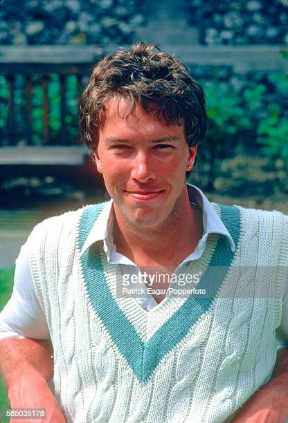 Derek Pringle playing for MCC wearing his Cambridge sweater before the Tour match between Marylebone Cricket Club and India at Lord's Cricket Ground...