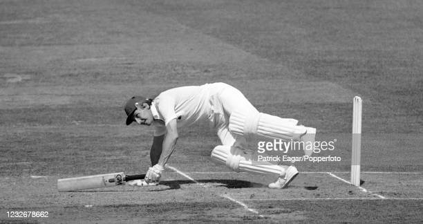 Derek Randall of England loses his footing while batting during the 2nd Test match between England and Pakistan at Lord's Cricket Ground, London,...