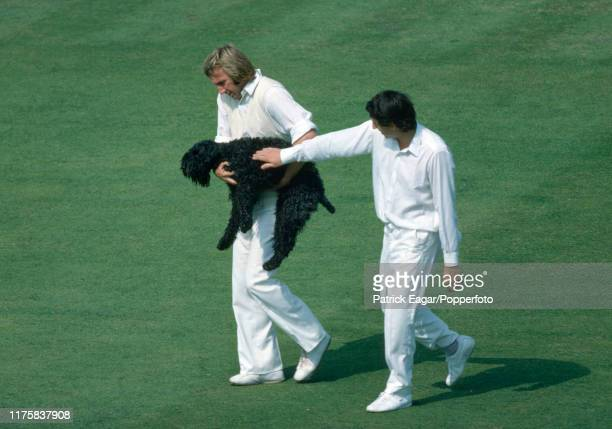 Derek Randall of England pets a dog carried by John Lever after it had strayed onto the pitch during the 5th Test match between England and Australia...