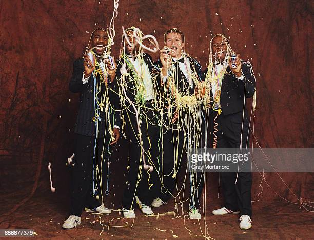 Derek Redmond Kriss Akabusi Roger Black and John Regis of Great Britain gold medal winners in the Men's 4 x 400 metres Relay final at the 1991 IAAF...