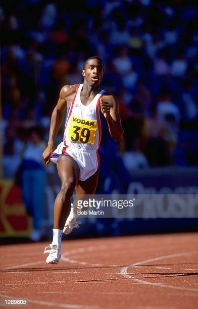 Derek Redmond of Great Britain in action during the 400 metres event at the UK Olympic Trials in Birmingham England Mandatory Credit Bob...