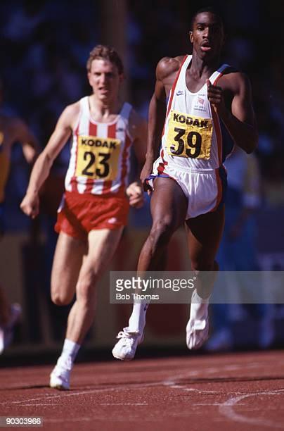 Derek Redmond of Great Britain running in the men's 400m event at the Kodak/TSB Olympic Trials held at the Alexander Stadium in Birmingham England...