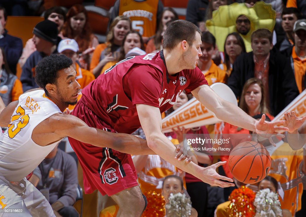 Derek Reese #23 of the of the Tennessee Volunteers tries to steal the ball from Laimonas Chatkevikius #14 of the South Carolina Gamecocks in a game at Thompson-Boling Arena on January 23, 2016 in Knoxville, Tennessee.