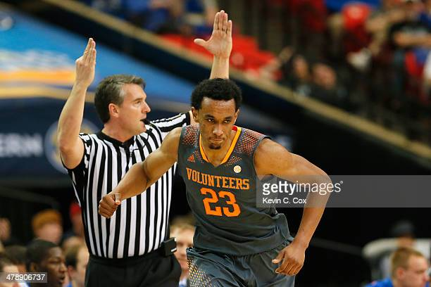Derek Reese of the Tennessee Volunteers reacts after scoring against the Florida Gators during the semifinals of the SEC Men's Basketball Tournament...