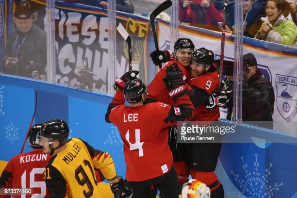 Derek Roy of Canada reacts after scoring a goal against Germany in the third period during the Men's Playoffs Semifinals on day fourteen of the...