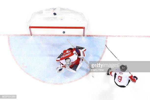 Derek Roy of Canada scores a goal against Pavel Francouz of the Czech Republic in the first period during the Men's Bronze Medal Game on day fifteen...