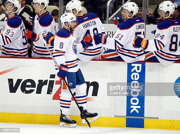 Derek Roy of the Edmonton Oilers celebrates after scoring in the third period during the game against the Pittsburgh Penguins at Consol Energy Center...