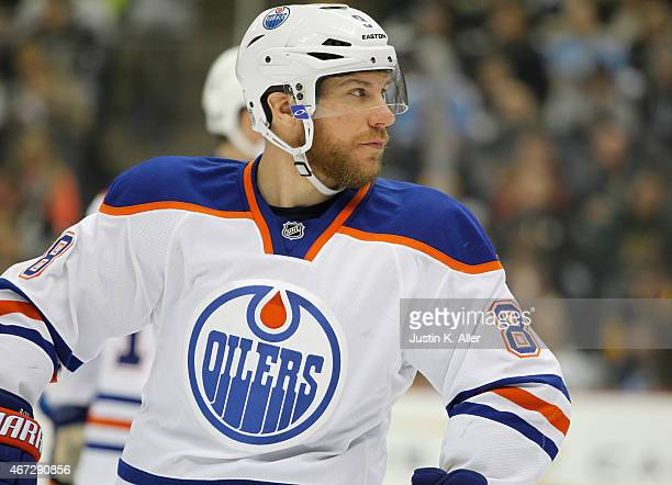 Derek Roy of the Edmonton Oilers skates during the game against the Pittsburgh Penguins at Consol Energy Center on March 12 2015 in Pittsburgh...