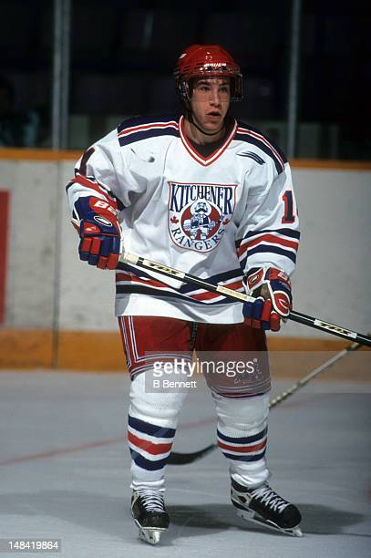 Derek Roy of the Kichener Rangers skates on the ice during an OHL game in October 1999 at the Kitchener MemorialAuditorium Complex in Kitchener...