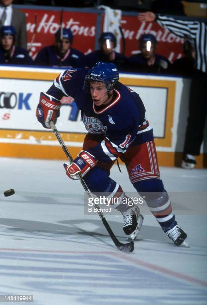 Derek Roy of the Kitchener Rangers skates on the ice during an OHL game in November 1999