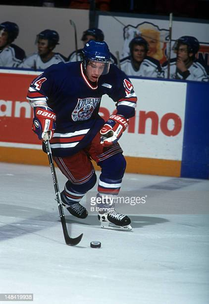 Derek Roy of the Kitchener Rangers skates with the puck during an OHL game in November 1999