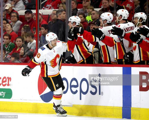 Derek Ryan of the Calgary Flames celebrates a goal during an NHL game against the Carolina Hurricanes on February 3, 2019 at PNC Arena in Raleigh,...