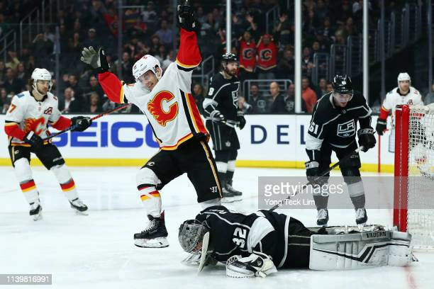 Derek Ryan of the Calgary Flames celebrates after scoring the fifth goal past Jonathan Quick of the Los Angeles Kings during the third period at...