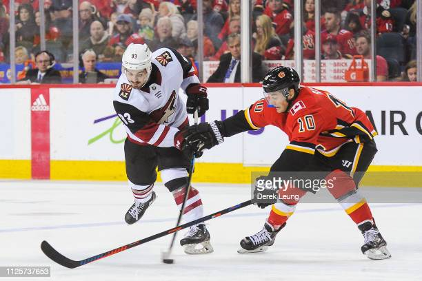 Derek Ryan of the Calgary Flames checks Conor Garland of the Arizona Coyotes during an NHL game at Scotiabank Saddledome on February 18 2019 in...