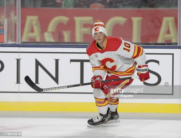 Derek Ryan of the Calgary Flames skates during warmup before taking on the Winnipeg Jets during the 2019 Tim Hortons NHL Heritage Classic at Mosaic...