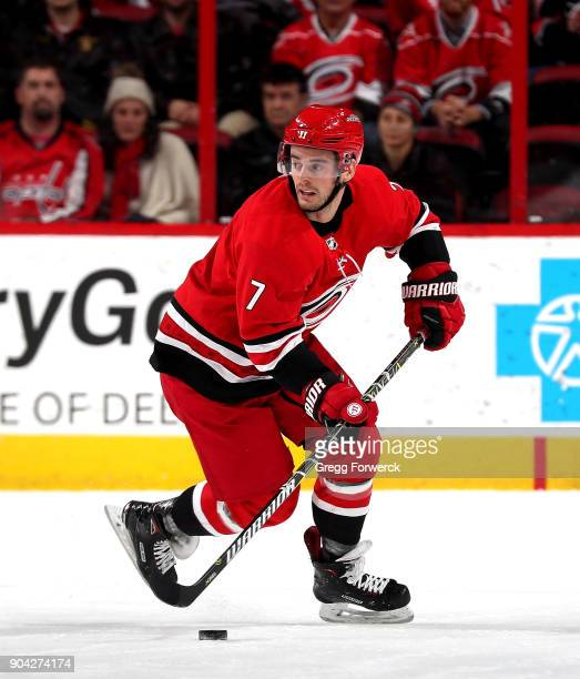 Derek Ryan of the Carolina Hurricanes carries the puck during an NHL game against the Washington Capitals on January 2 2018 at PNC Arena in Raleigh...