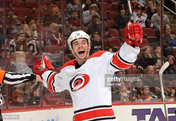Derek Ryan of the Carolina Hurricanes celebrates a goal during the third period against the Arizona Coyotes at Gila River Arena on March 5 2017 in...