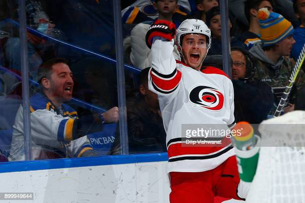 Derek Ryan of the Carolina Hurricanes celebrates after scoring a goal against the St Louis Blues at Scottrade Center on December 30 2017 in St Louis...