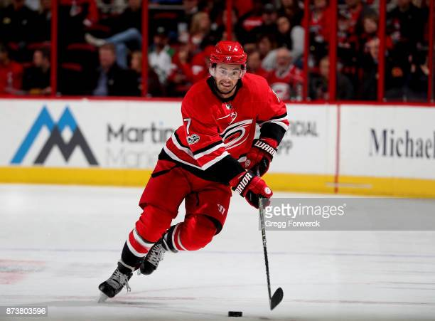 Derek Ryan of the Carolina Hurricanes controls the puck on the ice during an NHL game against the Dallas Stars on November 13 2017 at PNC Arena in...