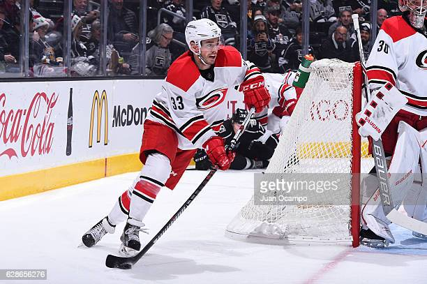 Derek Ryan of the Carolina Hurricanes handles the puck during a game against the Los Angeles Kings at STAPLES Center on December 08 2016 in Los...