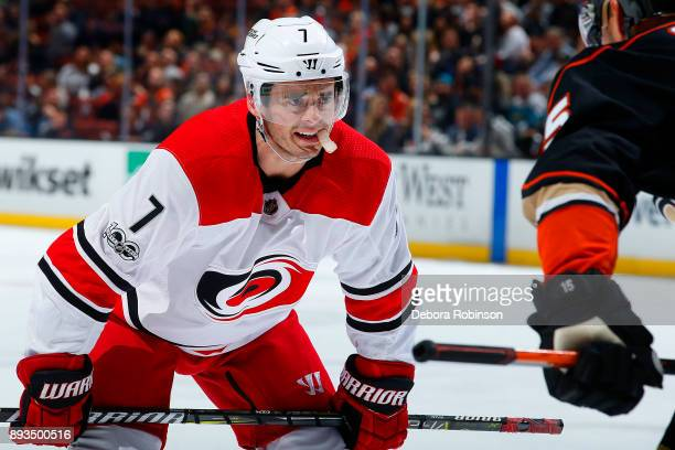 Derek Ryan of the Carolina Hurricanes lines up for a faceoff against Ryan Getzlaf of the Anaheim Ducks during the game on December 11 2017 at Honda...