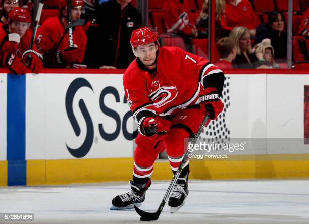 Derek Ryan of the Carolina Hurricanes moves the puck on the ice during an NHL game against the Florida Panthers on November 7 2017 at PNC Arena in...