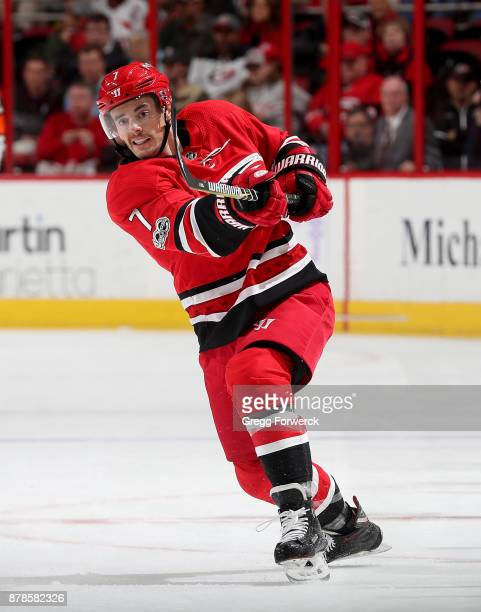 Derek Ryan of the Carolina Hurricanes shoots the puck during an NHL game against the New York Islanders on November 19 2017 at PNC Arena in Raleigh...