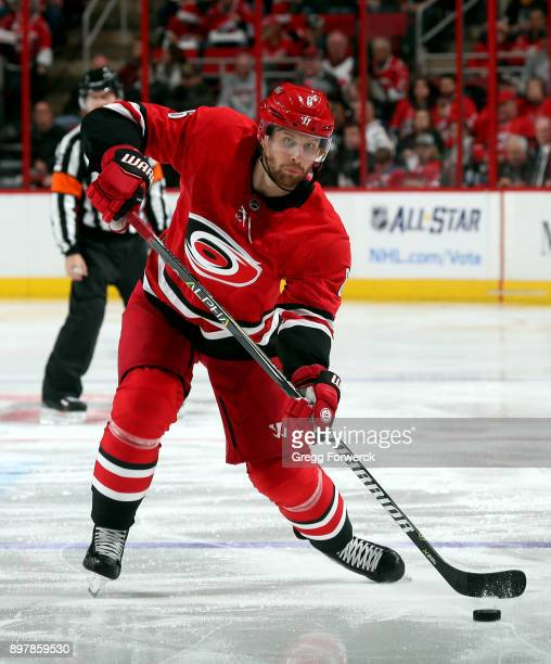 Derek Ryan of the Carolina Hurricanes shoots the puck during an NHL game against the Buffalo Sabres on December 23 2017 at PNC Arena in Raleigh North...