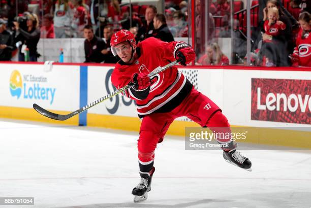 Derek Ryan of the Carolina Hurricanes shoots the puck during warmups prior to an NHL game against the Minnesota Wild on October 7 2017 at PNC Arena...
