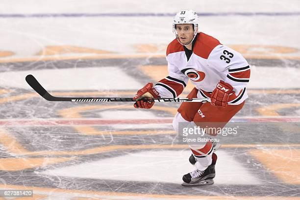 Derek Ryan of the Carolina Hurricanes skates against the Boston Bruins at the TD Garden on December 1 2016 in Boston Massachusetts