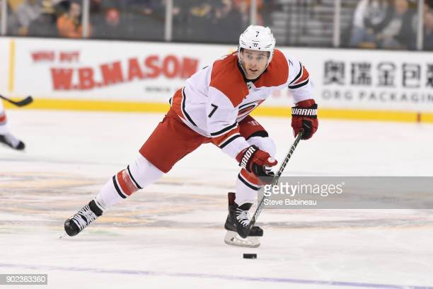 Derek Ryan of the Carolina Hurricanes skates against the Boston Bruins at the TD Garden on January 6 2018 in Boston Massachusetts