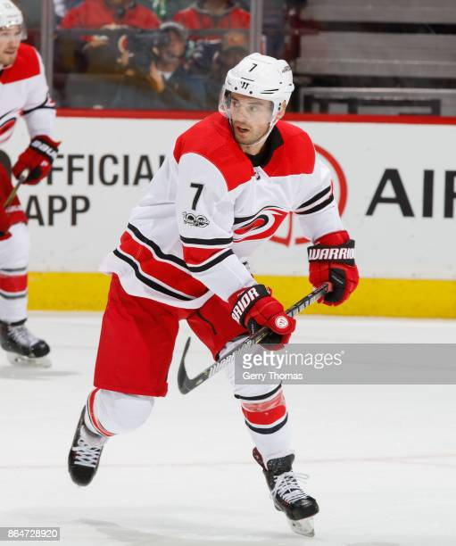 Derek Ryan of the Carolina Hurricanes skates against the Calgary Flames at Scotiabank Saddledome on October 19 2017 in Calgary Alberta Canada