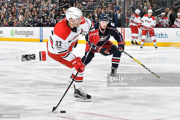 Derek Ryan of the Carolina Hurricanes skates against the Columbus Blue Jackets on January 17 2017 at Nationwide Arena in Columbus Ohio