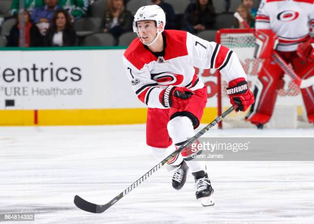 Derek Ryan of the Carolina Hurricanes skates against the Dallas Stars at the American Airlines Center on October 21 2017 in Dallas Texas