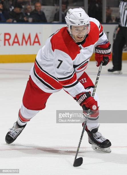Derek Ryan of the Carolina Hurricanes skates against the Toronto Maple Leafs during an NHL game at the Air Canada Centre on December 19 2017 in...
