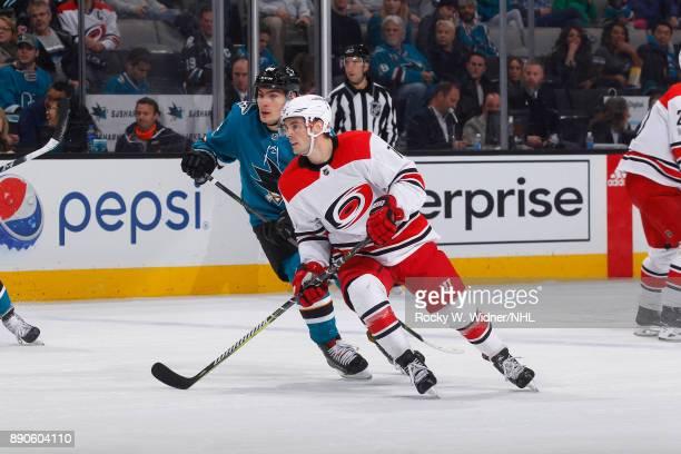 Derek Ryan of the Carolina Hurricanes skates against Timo Meier of the San Jose Sharks at SAP Center on December 7 2017 in San Jose California