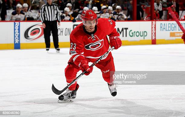 Derek Ryan of the Carolina Hurricanes skates for position on the ice during an NHL game against the Buffalo Sabres on January 13 2017 at PNC Arena in...