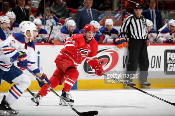 Derek Ryan of the Carolina Hurricanes skates for position on the ice during an NHL game against the Edmonton Oilers on February 3 2017 at PNC Arena...