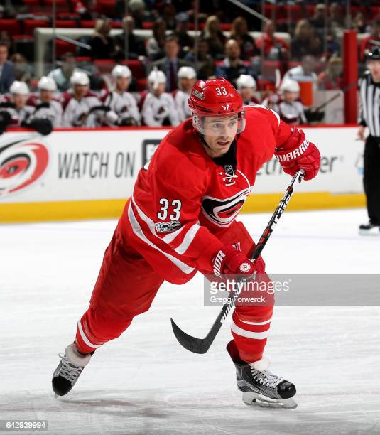 Derek Ryan of the Carolina Hurricanes skates for position on the ice during an NHL game against the Colorado Avalanche on February 17 2017 at PNC...