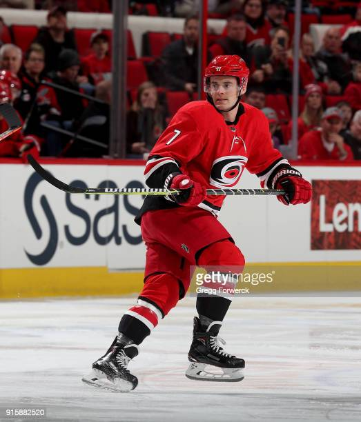 Derek Ryan of the Carolina Hurricanes skates for position on the ice during an NHL game against the Detroit Red Wings on February 2 2018 at PNC Arena...
